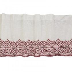 Gardinkappa Casablanca på metervara i vitt och rött. Höjd 50 cm. Pris 69:-/m.
