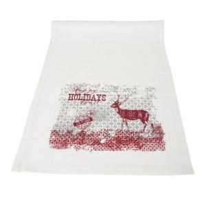 Jullöpare i vitt och rött. Mått 40 x 140 cm.