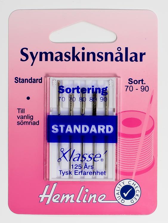 Symaskinsnålar. Standard.  Sortering 70-90.