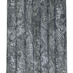 Gardinset med två öljettlängder i vitt och svart. Mått 2 x 140 x 240 cm.