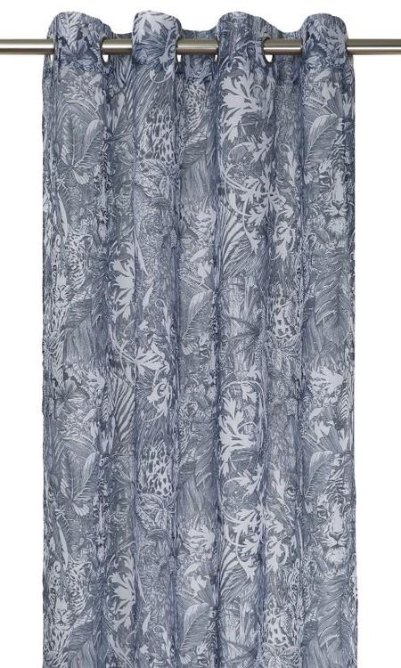 Gardinset med två öljettlängder i vitt och grått. Mått 2 x 140 x 240 cm.