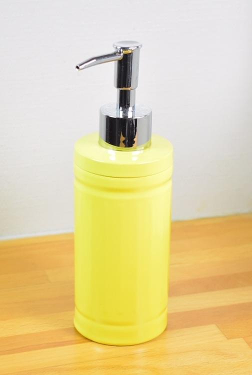 Tvålpump/diskmedelspump. Färg: Gul. Höjd 19 cm.