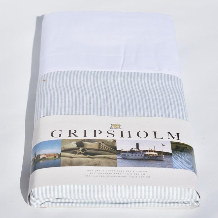 Påslakan från Gripsholm till spjälsäng. Mått 115 x 130 cm. Material: Bomull.
