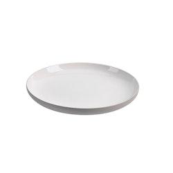 Assiett Skagen en ¨mixa och matchaservis¨ i vitt med grå undersida från Modern house. Mått D 23 cm.