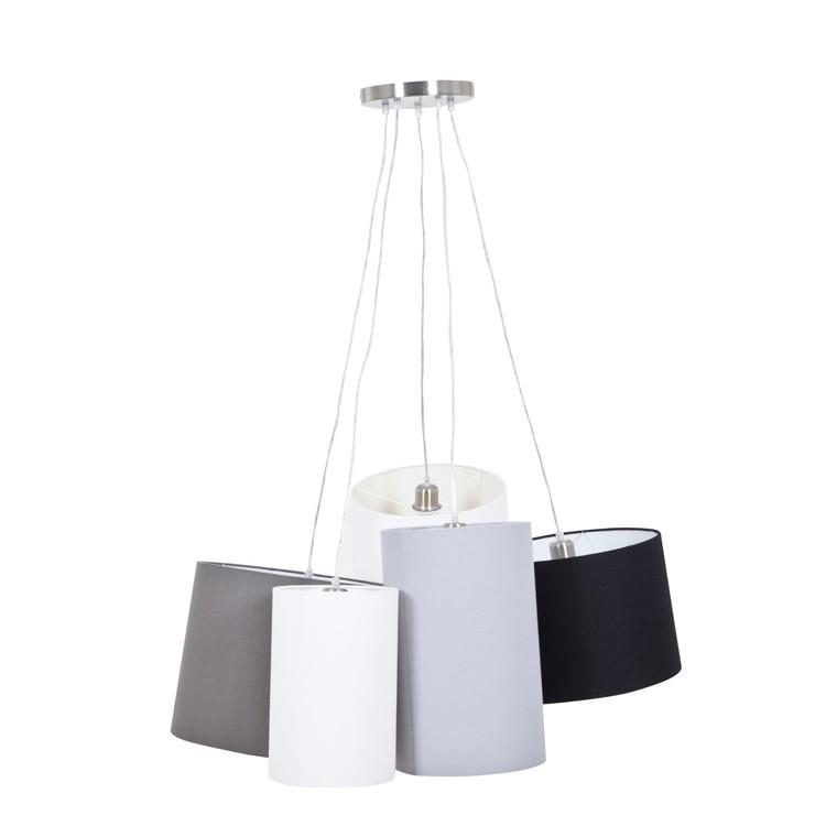 Taklampa Lisse med fem lampskärmar i offwhite, grått, beige, svart och vitt. Skärmarna är gjorda i tyg.