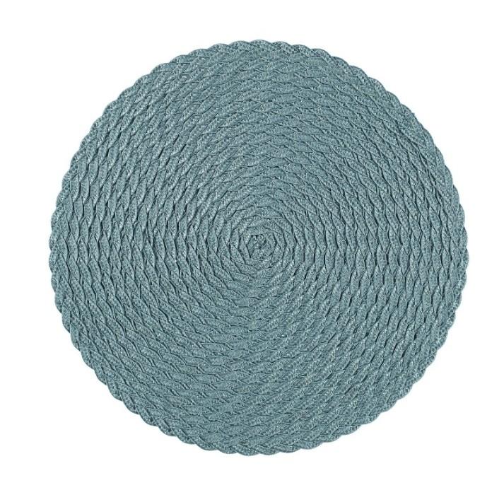 Tellus en rund tablett från Noble house. Färg: Mörk aqua. Dia.