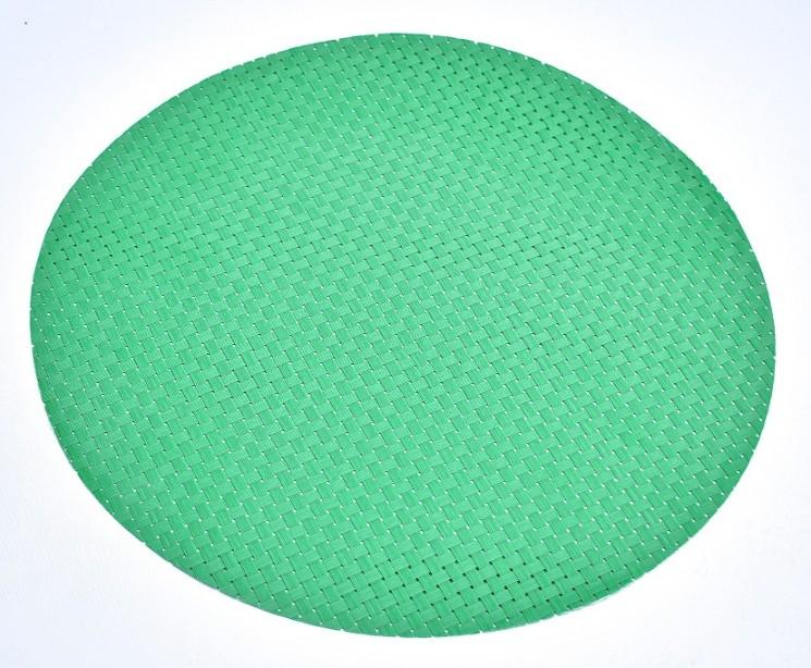 Rund tablett. Färg: Grön. Dia. 38 cm. Material vävd i 100% polypropylene.
