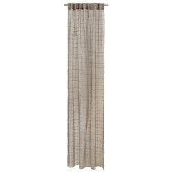 Carina ett gardinset i beige färg med rutor. Två längder med dolda hällor. Mått 2 x 130 x 240 cm.