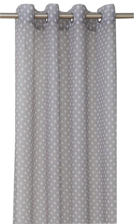 Gardinset med två öljettlängder. Färg: Grå med vita prickar. Mått 2 x 140 x 240 cm.