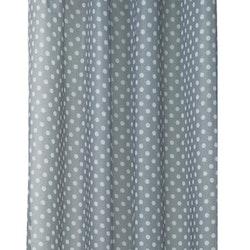 Gardinset med två öljettlängder. Färg: Blå med vita prickar. Mått 2 x 140 x 240 cm.