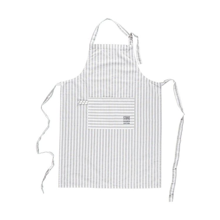 Förkläde Stockholm grey stripe i stentvättad bomull. Färg: Vit och grårandigt. Mått: 65 x 90 cm. Material: 100% bomull.