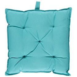 Stolsdyna Palma från Noble house. Färg: Turkos. Mått: 40 x 40 x 7 cm. Material: !00% polyester.