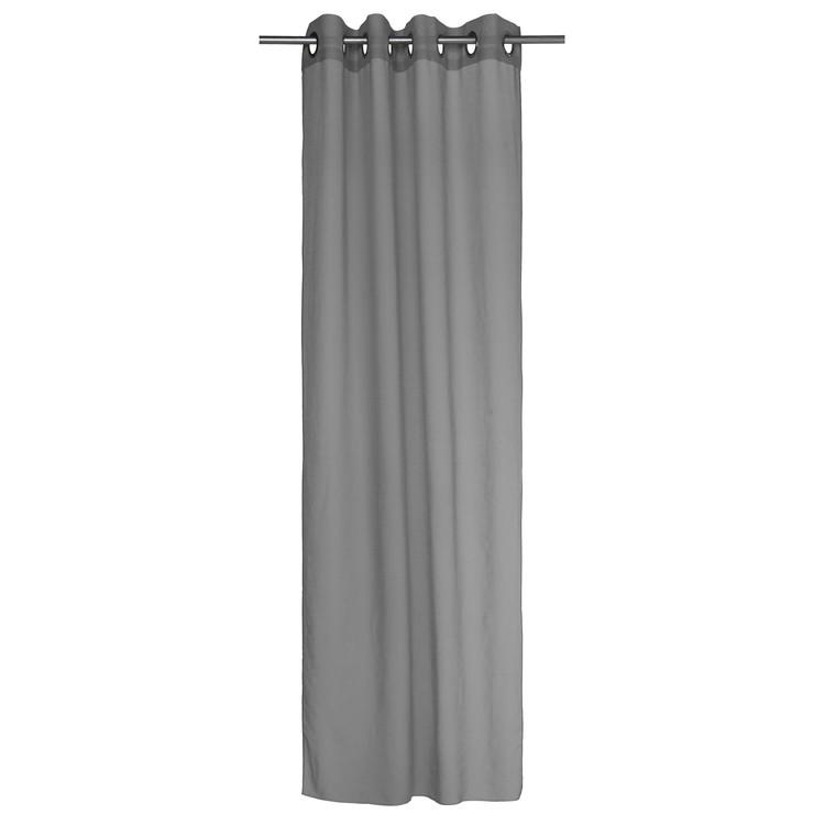 Gardinset Vanja med 2 öljettlängder. Färg: Mörkgrå. Mått: 2 x 130 x 240 cm.