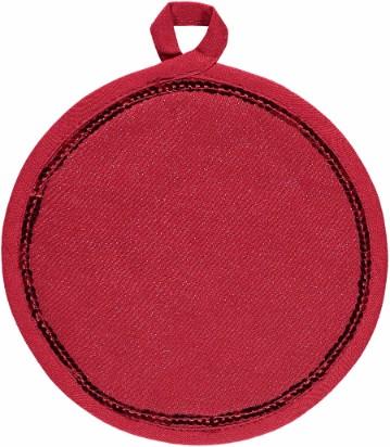 Grytlapp Gary med paljetter rund. Färg: Röd med lite glitter i väven och paljetter. Mått: 22 cmi dia. Material: Tyg 55% lin och 45% viscose.