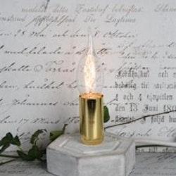 Lampfot i betong med gulddetaljer. Mått: Höjd 9 x dia 11,5 cm.
