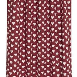 Gardinset med två hällängder. Färg: Röd och vit. Mått 2 x 140 x 240 cm.