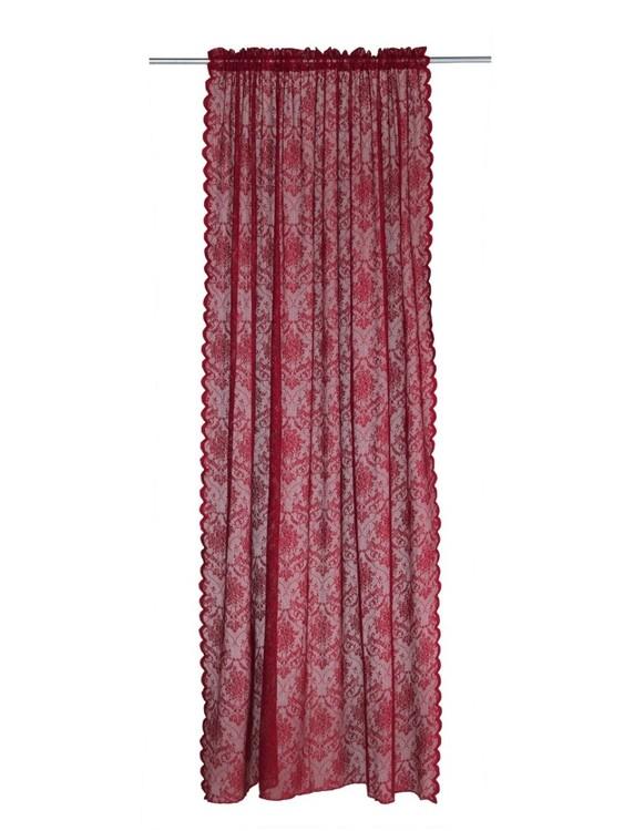 Gardinset Elina lace från Noble house med kanal. Färg: Röd.
