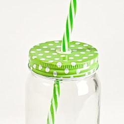 Glasburk med lock och sugrör. Färg: Grön.