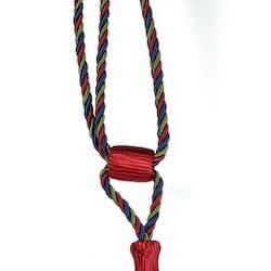 Tassels/Gardinomtag med tofs. Färg: Röd, blå och grön. Längd: 60 cm.
