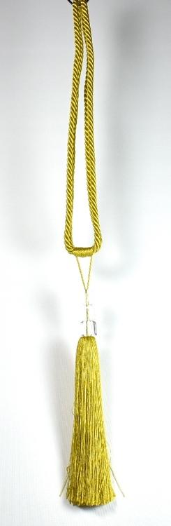 Tassels/Gardinomtag med tofs och glasprismor. Färg: Gul. Längd: 59 cm.