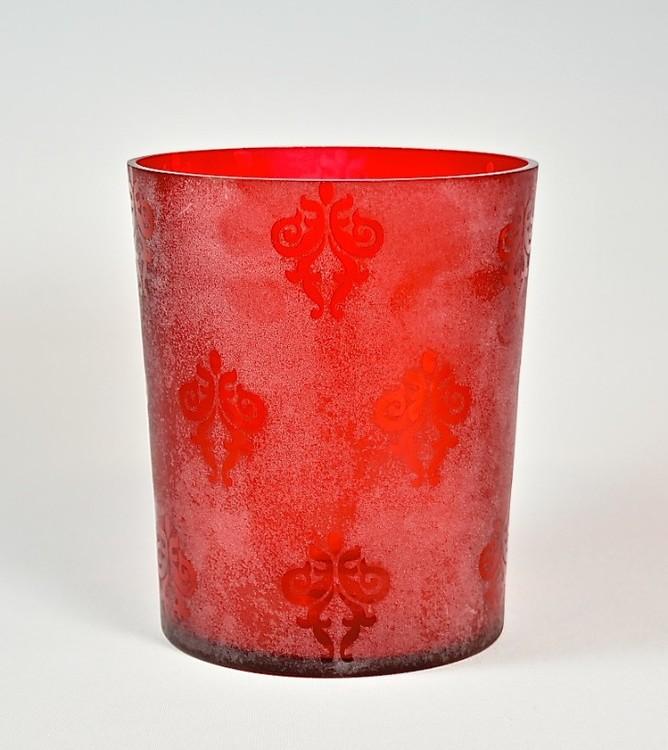 Glaskruka till blommor eller dekoration. Färg: Röd. Mått: H 16 cm, Dia 13,5 cm.