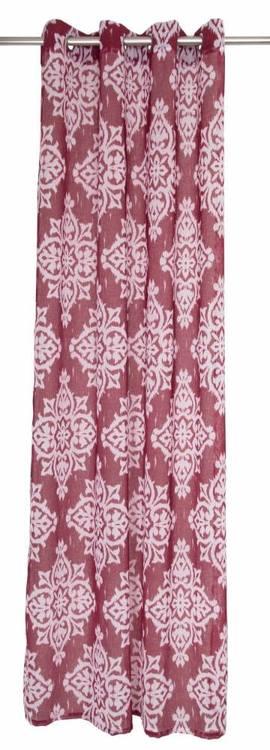Gardinset med två öljettlängder. Färg: Röd och vit. Mått 2 x 140 x 240 cm.