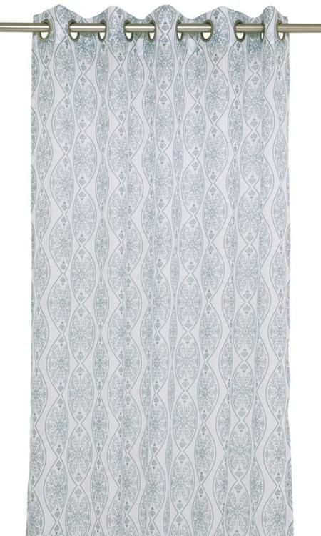 Fox ett gardinset med öljetter. Färg: Off-white och blå.
