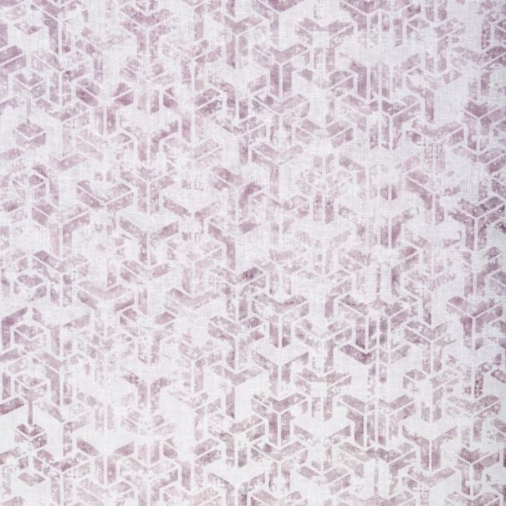 Graphic ett gardinset med multiband från Boel & Jan. Färg: Vit med ett rosa mönster.