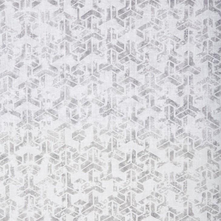 Graphic ett gardinset med multiband från Boel & Jan. Färg: Vit med ett grått mönster.
