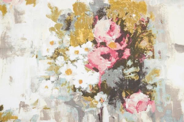 7706-20-033 ett gardinset med multiband. Färg: Rosa, vitt, grått, gult och brunt.