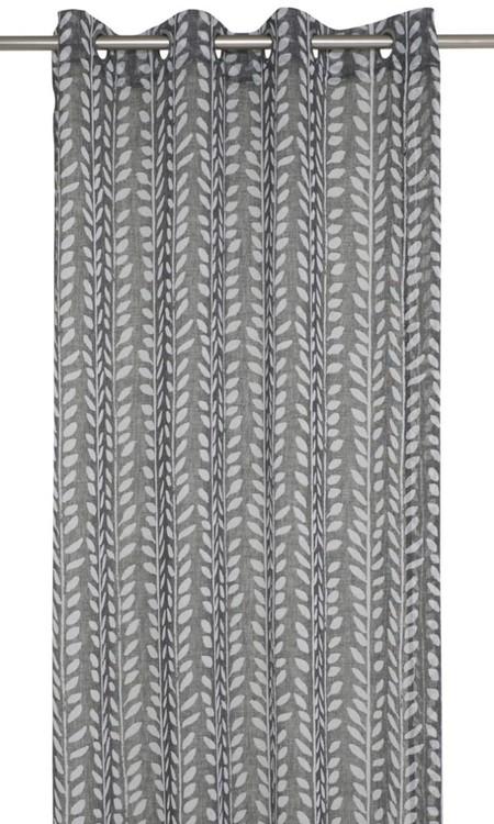 Bari ett gardinset med öljetter. Färg: Svart och vit.