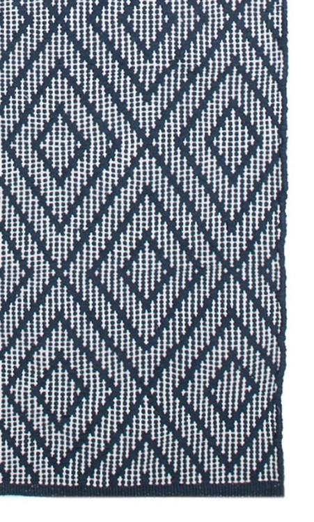 Diamant en bomullsmatta. Färg: Blå och vit.