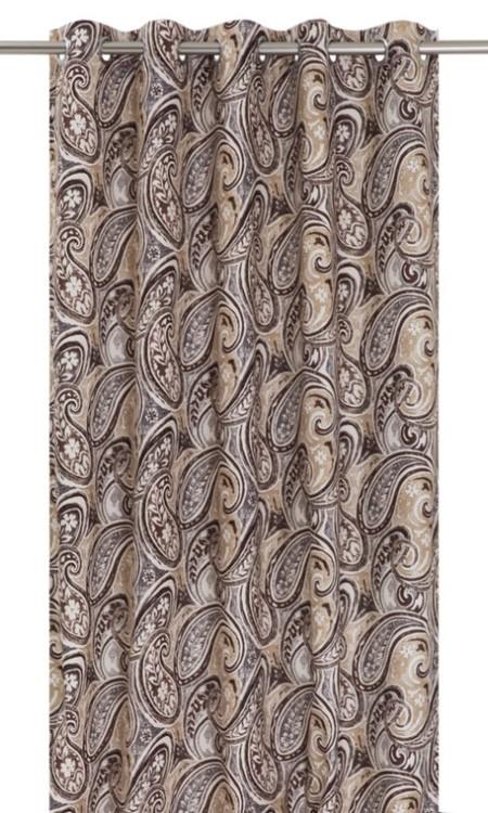 Ipswich ett paisleymönstrat gardinset i sammet med öljetter. Färg: Beiga och bruna toner.