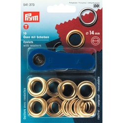 Öljetter från Prym Dia. 14 mm. Färg: Guld.