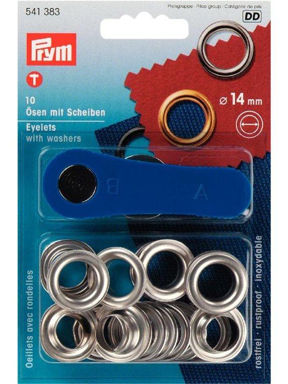 Öljetter från Prym Dia. 14 mm. Färg: Silver.