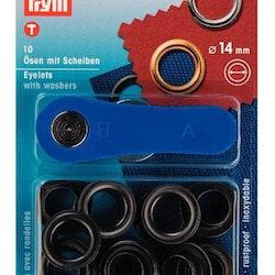 Öljetter från Prym Dia. 14 mm. Färg: Svart.