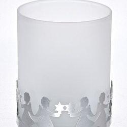 Lykta Ängel stor. Färg: Aluminium och frostat glas.