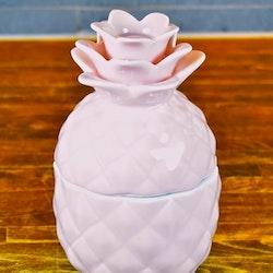 Ananas en godisskål/smyckesförvaring i porslin. Färg: Rosa.