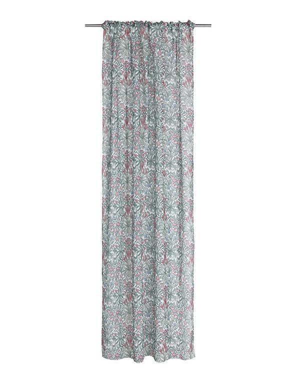Margo ett gardinset med multiband från Noble house. Färg: Vit, grön och rosa.