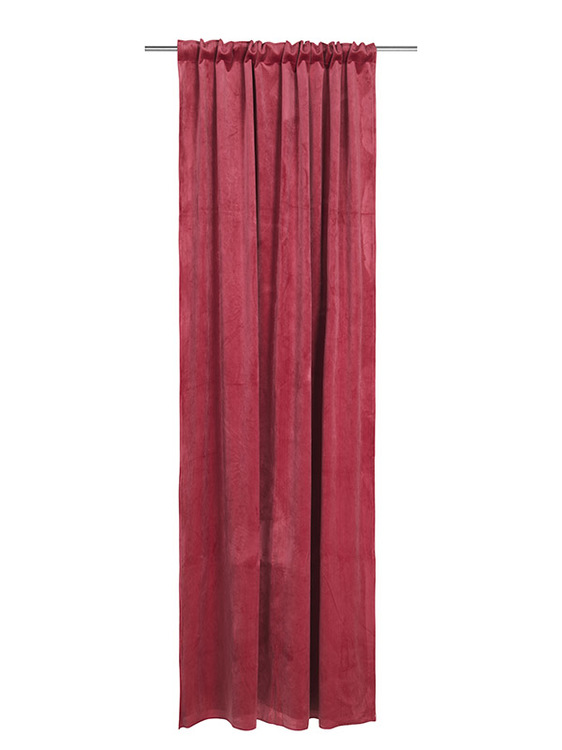 Velvet Jonna ett gardinset i sammet med multiband. Färg: Djuprosa.