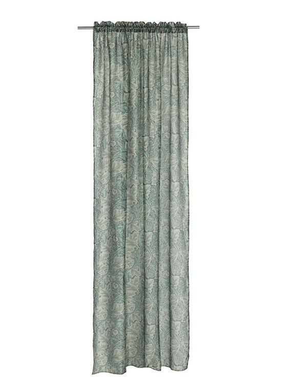 Moira ett gardinset med kanaler från Noble house. Färg: Gröna toner.