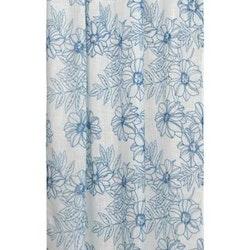 Tessan Melissa ett färdigsydd gardinset med multiband från Noble house. Färg: Vit med blå blommor.