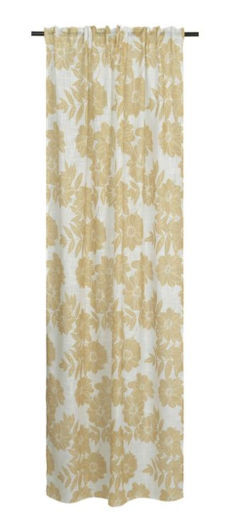 Tessan Melissa ett färdigsydd gardinset med multiband från Noble house. Färg: Vit med gula blommor.