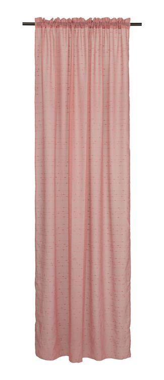 Amanda ett gardinset med kanaler. Färg: Rosa med en effekttråd.