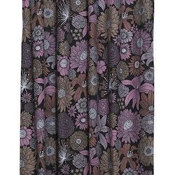 Fiona ett härligt gardinset med multiband. Färg: Svart med rosa, beiga och bruna blommor.