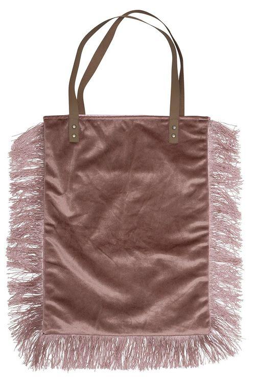 Champagne en lyxig handväska i sammet med fransar och handtag i konstläder. Färg: Rosa med fransar i samma färg.