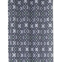 Nokia ett gardinset med öljetter. Färg: Vit med ett mörkblått och grått retromönster.