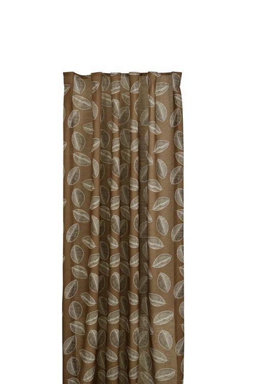 Kelly ett gardinset från Boel & Jan med multiband. Färg: Rostbruna toner. Mått: 2 x 140 x 240 cm.