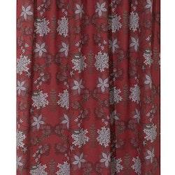 Velvia ett julgardinset med multiband. Färg: Röd med grå och gröna julblommor. Mått: 2 x 115 x 240 cm.