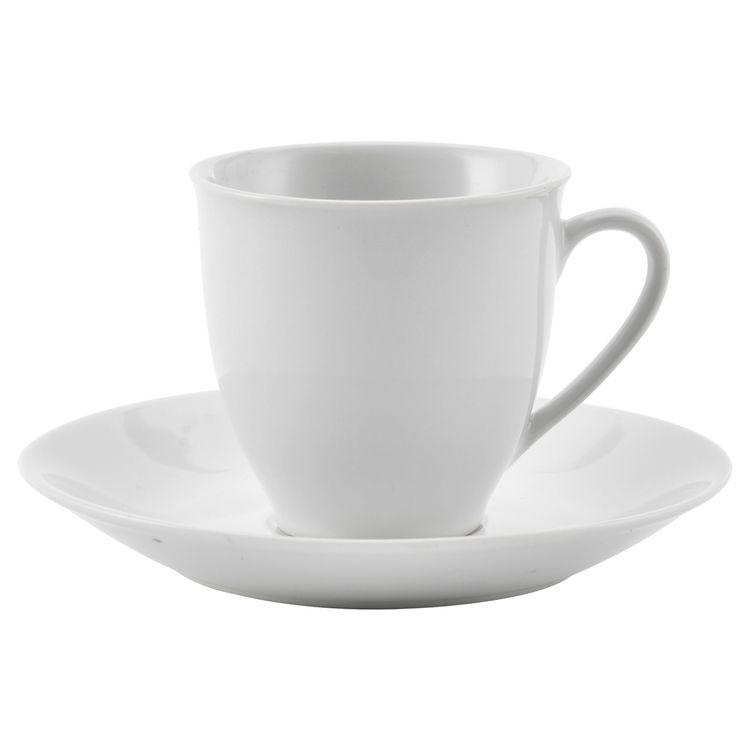 Epla en stilren kaffekopp med fat i vitt porslin. Färg: Vit.